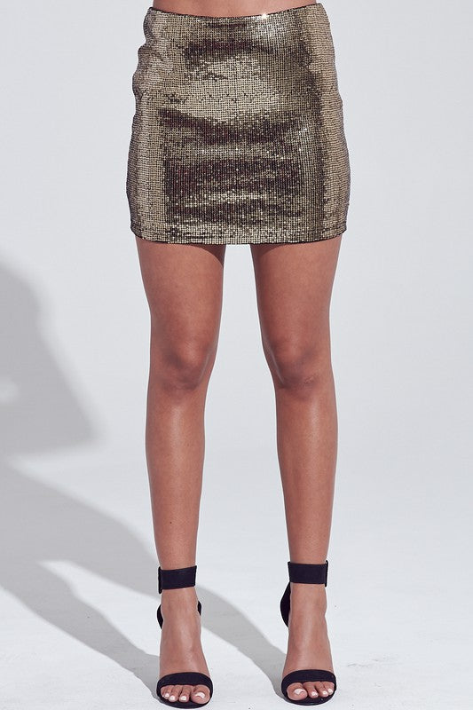 Black & Gold Sequin Mini Skirt--FINAL SALE