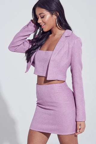 Mauve Textured 3 Piece Set