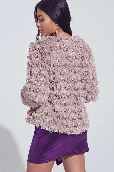 Taupe Fringed Faux Fur Jacket