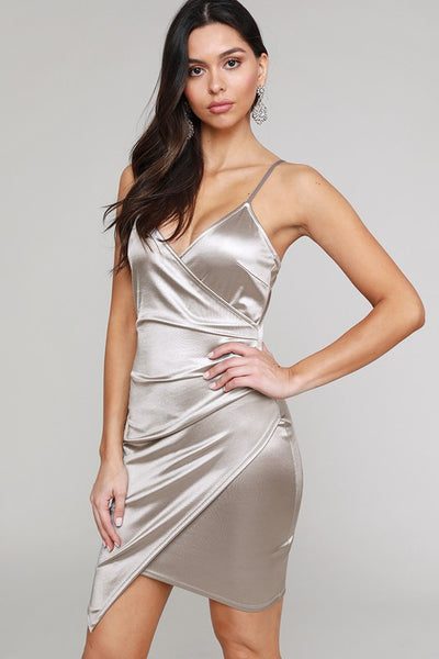 Silver Stretch Satin Asymmetric Dress