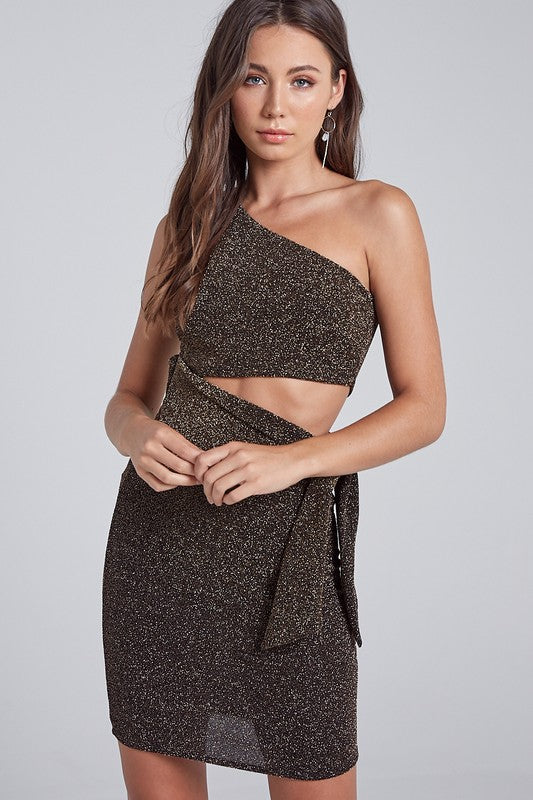 Gold & Black Sparkle 1 Shoulder Dress
