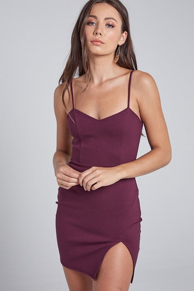 Plum Sweetheart Slit Mini Dress