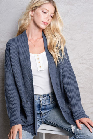 Smoke Blue Lightweight Knit Cardigan