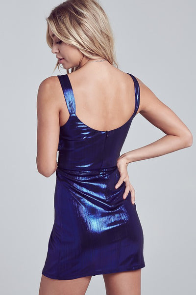 Blue Metallic Shirring Dress--FINAL SALE
