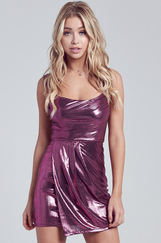 Berry Metallic Shirring Mini Dress