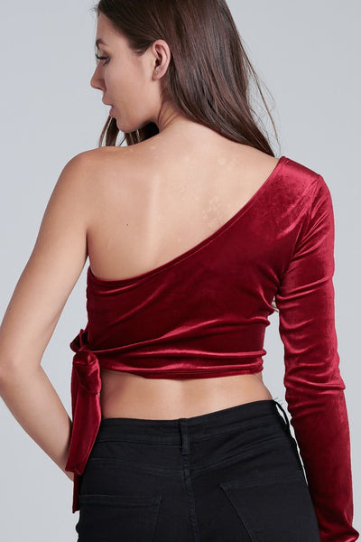 Red Port Velvet 1 Arm Crop Top