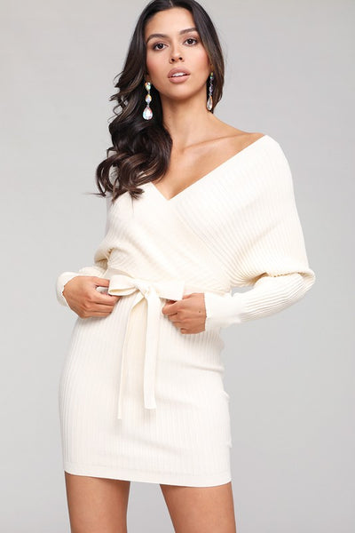 Ivory X Front Sweater Dress