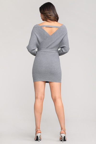 Grey X Front Sweater Dress