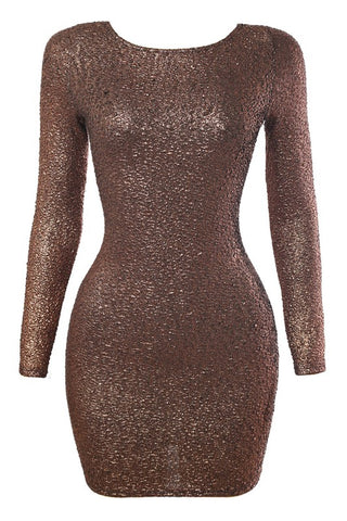 Dark Gold Glittery Open Back LS Dress