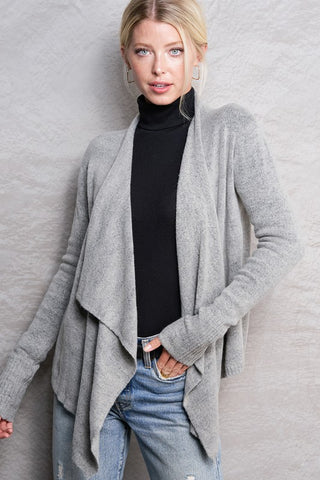 Heather Grey Asymmetric Cardigan--FINAL SALE