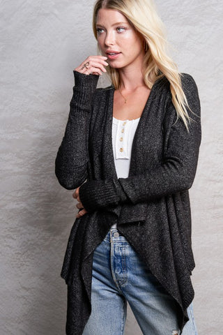 Heather Black Asymmetric Cardigan--FINAL SALE