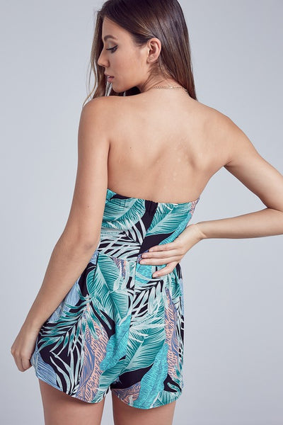 Black & Aqua Tropical Strapless Romper--FINAL SALE
