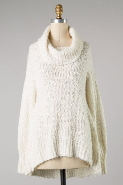 Ivory Fuzzy Cowl Neck Sweater