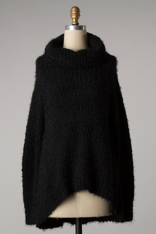 Black Fuzzy Cowl Neck Sweater