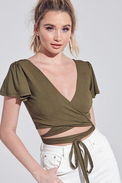 Flutter Crop Wrap Top--SEE COLORS