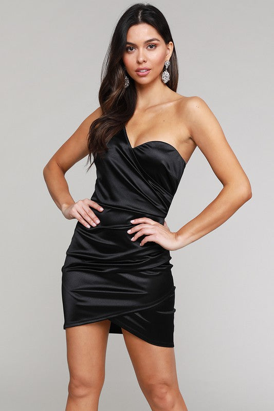 Black Satin 1 Shoulder Mini Dress