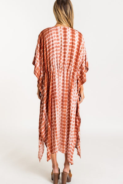 Brown Coral Tie Dye Beach Kimono--FINAL SALE