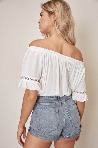 White Lace Trim Peasant Top--FINAL SALE