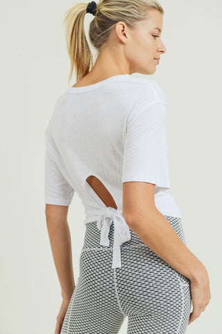 White Rayon Tie Back Crop T-Shirt--FINAL SALE