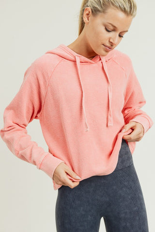 Peach Cotton Crop Hoodie Sweatshirt--FINAL SALE