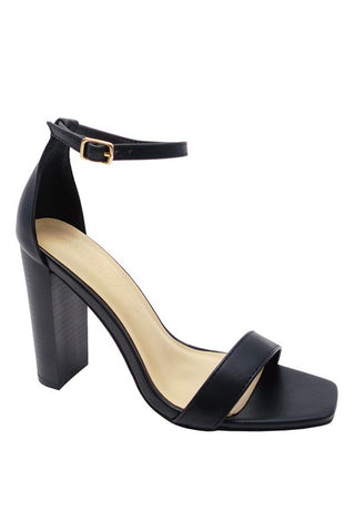 Black Square Toe Wood Heels--FINAL SALE