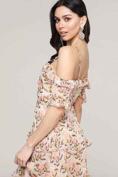 Cream Floral Laced Up Ruffle Dress
