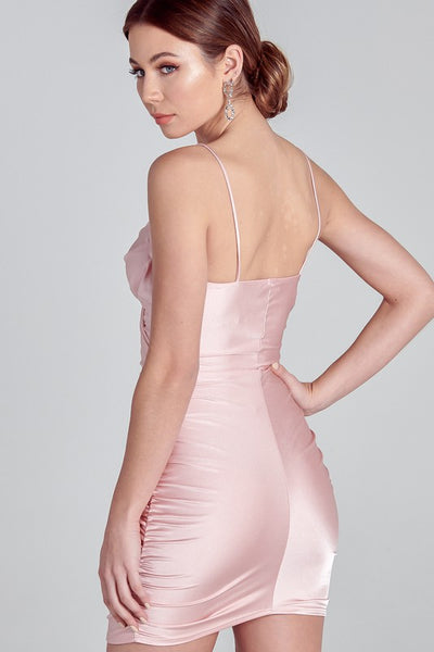 Light Pink Matte Satin Ruched Bodycon Dress