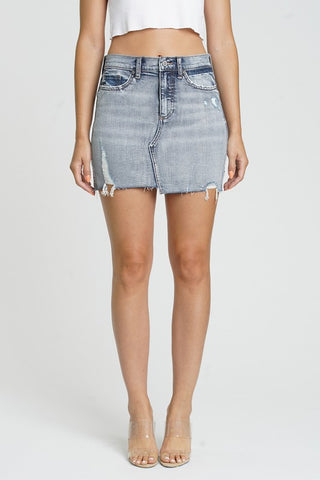 Dark Denim Raw Edge Mini Skirt