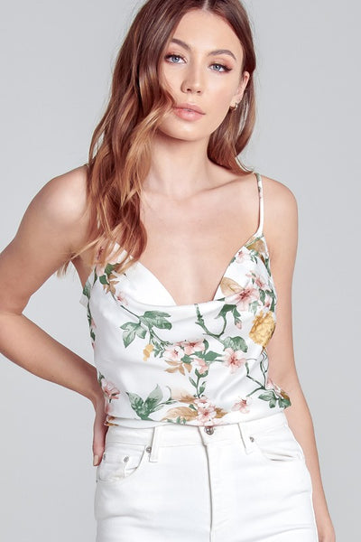 Ivory Floral Draped Tank Top--FINAL SALE