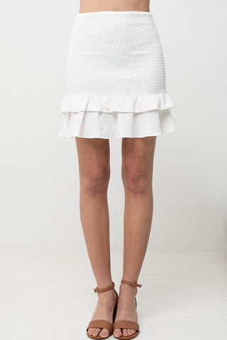 White Smocked 2 Ruffle Skirt