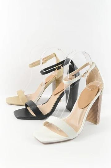 White Square Toe Wood Heels