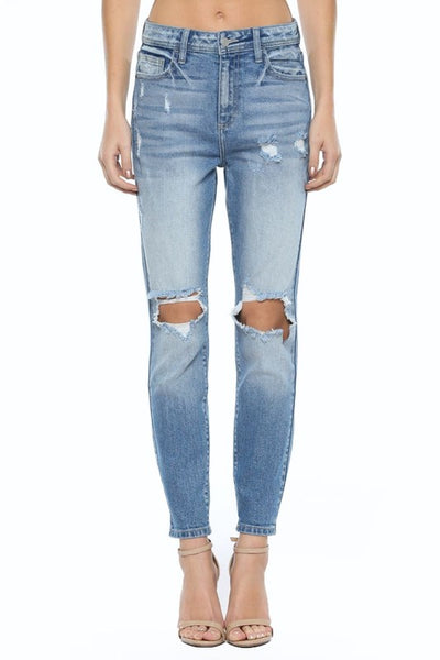 Ripped Knees High Rise Mom Jeans--FINAL SALE