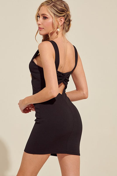 Black Twist Back Mini Dress--FINAL SALE