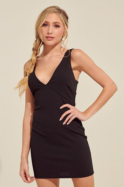Black Twist Back Mini Dress