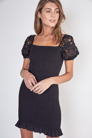 Black Smocked Puff Sleeve Dress--FINAL SALE