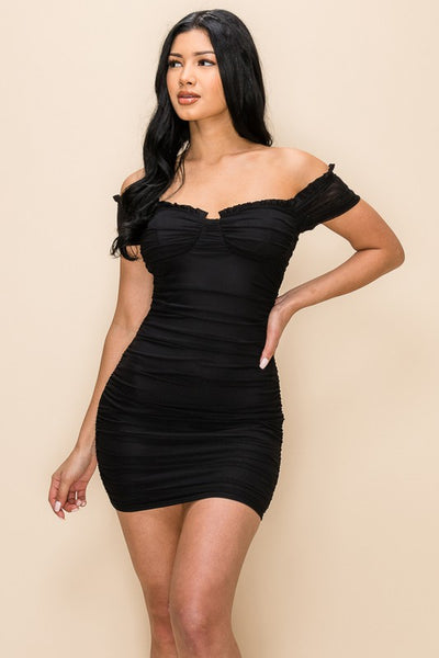 Black Mesh Off Shoulder Ruched Dress