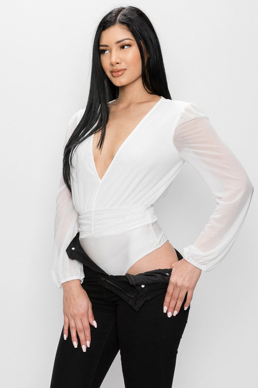Ivory Deep V Sheer Sleeve Bodysuit