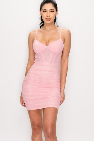 Pink Mesh Bustier Ruched Dress