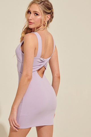 Lilac Twist Back Mini Dress