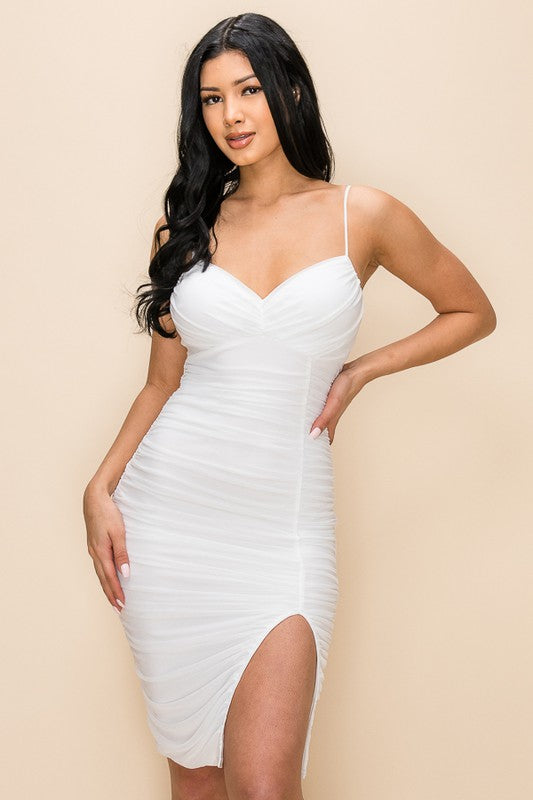 Ivory Ruched Side Slit Knee Length Dress