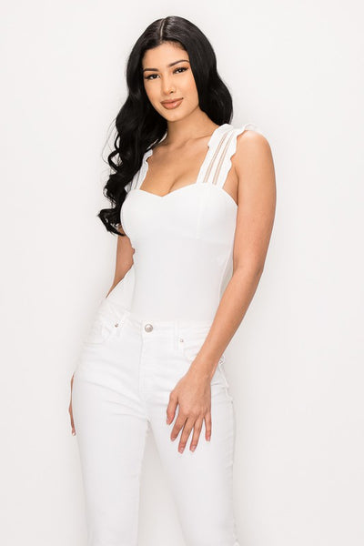 White Wide Ruffle Strap Bodysuit