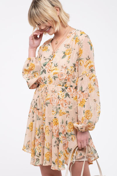 Blush Watercolor Floral Chiffon Dress