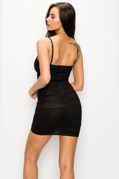 Black Mesh Asymmetric Wrap Dress