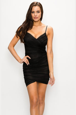 Black Mesh Asymmetric Wrap Dress--FINAL SALE