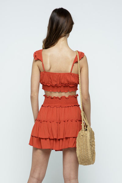 Burnt Orange Rayon Ruffled Mini Skirt