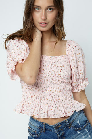 Blush Floral Smocked Puff Sleeve Top