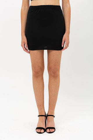 Black Smocked Back Mini Skirt