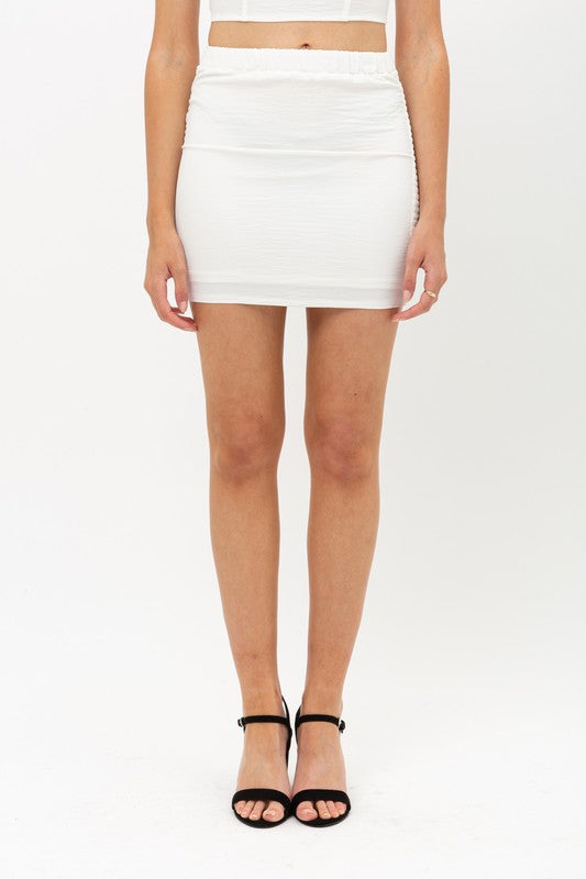 White Smocked Back Mini Skirt