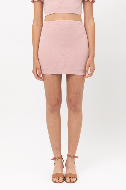 Blush Smocked Back Mini Skirt