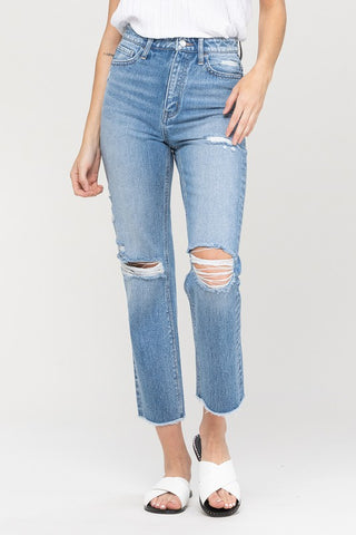 Slit Knees Raw Hem Straight Jeans